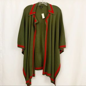 Talbots | Army Green & Red Poncho Shrug Wrap NWT
